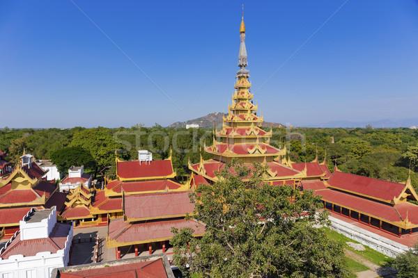 Paleis luchtfoto Myanmar mijlpaal gebouw stad Stockfoto © cozyta