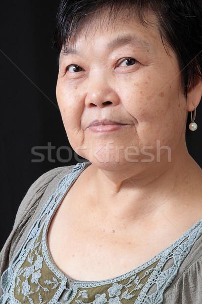 Kadın siyah Yaşlı kadın gülümseme mutlu model Stok fotoğraf © cozyta