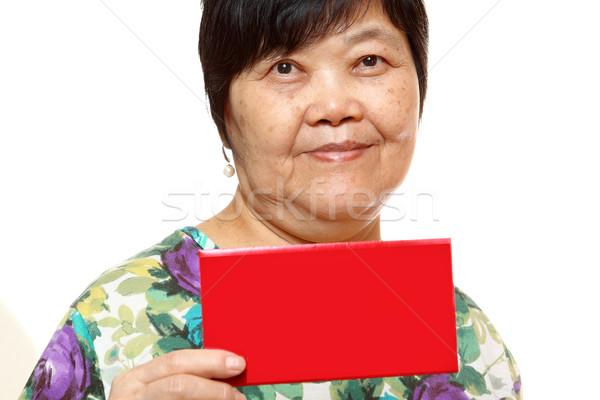 Stok fotoğraf: Asya · kadın · kırmızı · kart · kâğıt