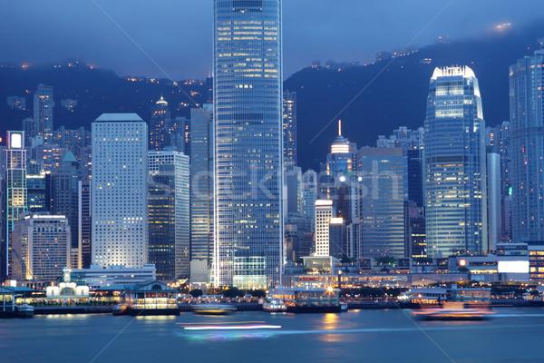Foto stock: Hong · Kong · noite · moderno · edifícios · negócio · escritório