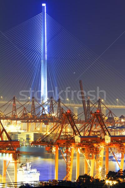 Foto stock: Puerto · almacén · industrial · mar · puente · azul