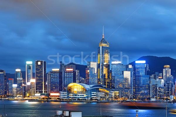Hong Kong stad business reizen nacht skyline Stockfoto © cozyta