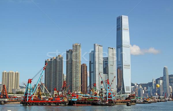 Hongkong sziluett délután üzlet iroda város Stock fotó © cozyta