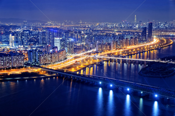 Seoul at night, South Korea Stock photo © cozyta