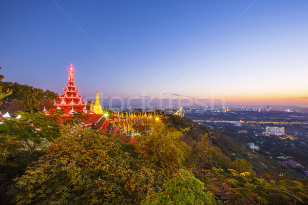 Golden Pagoda on Mandalay Hill, Mandalay, Myanmar Stock photo © cozyta
