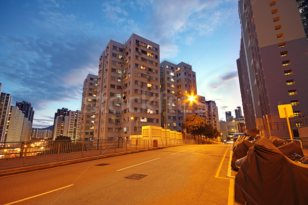modern urban city at night with freeway traffic Stock photo © cozyta