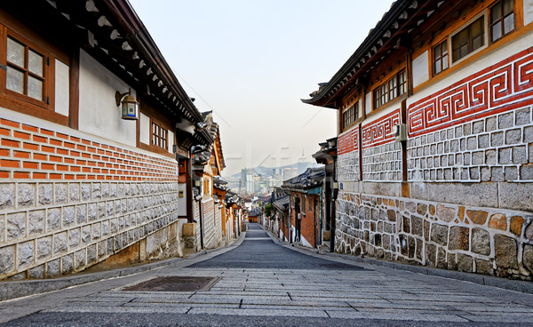 Bukchon Hanok historic district in Seoul at sunset Stock photo © cozyta