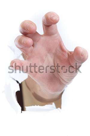 Mano roto papel signo mujeres Foto stock © cozyta