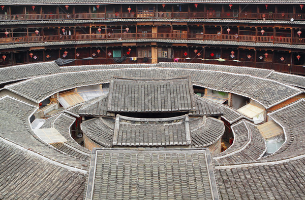 Tulou,a historical site in Fujian china.World Heritage.  Stock photo © cozyta
