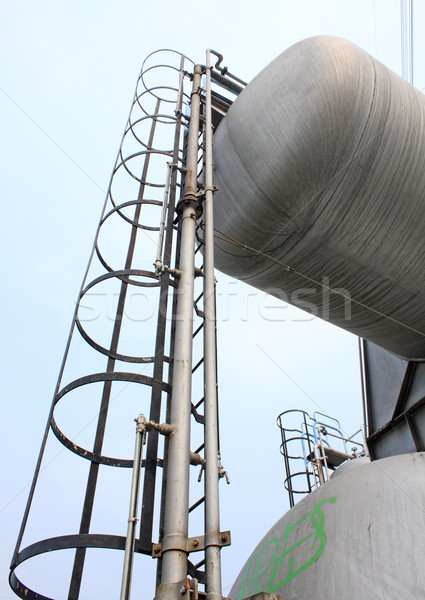 Stainless steel stairway in the tanks of a modern winery  Stock photo © cozyta