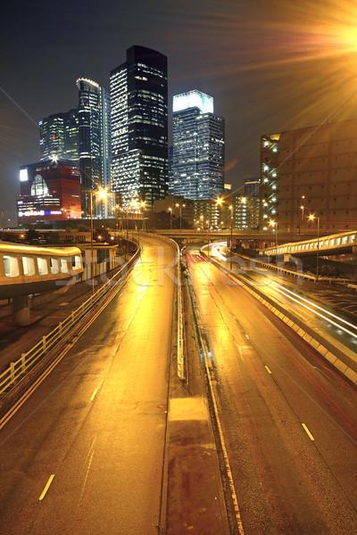 Városi tájkép éjszaka város forgalom autó Stock fotó © cozyta