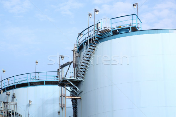 large white tanks for petrol and oil in the Rotterdam harbor Stock photo © cozyta