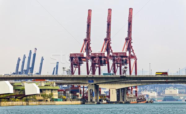 Hongkong handlowych portu dzień drogowego ciężarówka Zdjęcia stock © cozyta