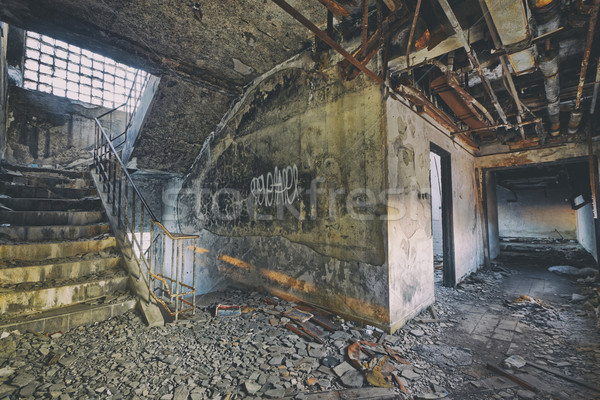 Old abandoned ruin factory damage building Stock photo © cozyta