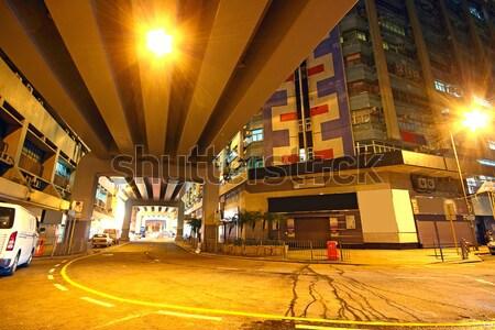 traffic downtown area at night, hongkong Stock photo © cozyta