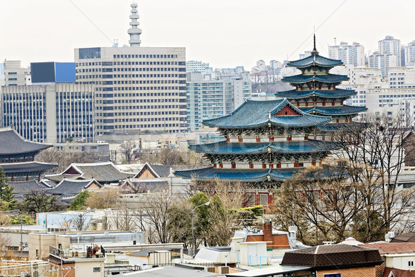Gyeongbokgung, or the Palace of Felicitous Blessing, was the mai Stock photo © cozyta