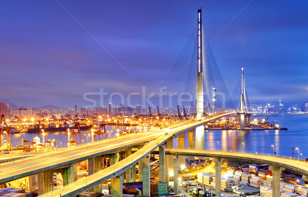 Container Cargo freight ship with working crane bridge in shipya Stock photo © cozyta