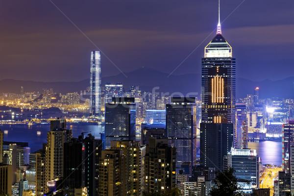 Hong Kong moderno cidade noite da cidade água luz Foto stock © cozyta