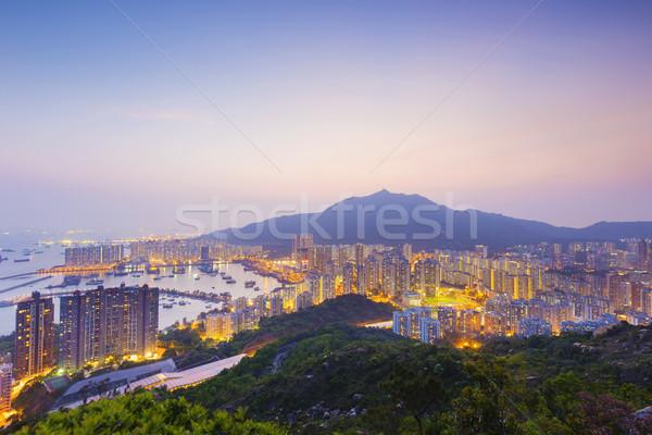Linha do horizonte sul mar centro da cidade pôr do sol beleza Foto stock © cozyta