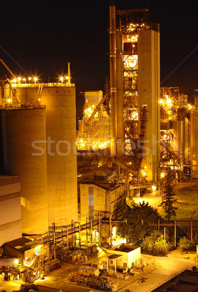 Stockfoto: Cement · plant · nacht · business · gebouw · bouw