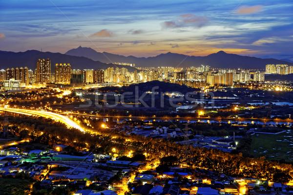 Tramonto lungo quartiere asian città autostrada Foto d'archivio © cozyta