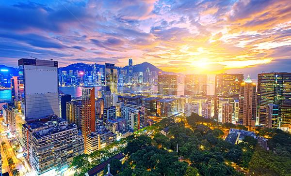 Foto stock: Hong · Kong · ciudad · puesta · de · sol · oficina · edificio · belleza
