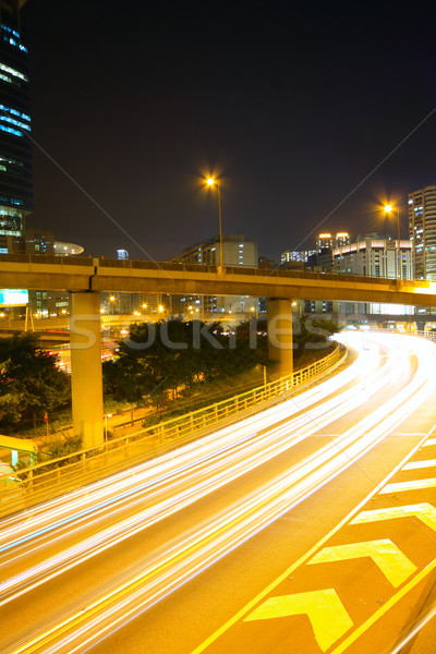 Traffic at night with traces of lights left by the cars on a hig Stock photo © cozyta