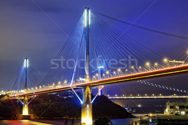 Ting Kau bridge at night Stock photo © cozyta