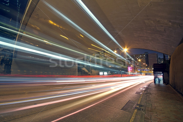 blurred bus light trails in downtown night-scape  Stock photo © cozyta