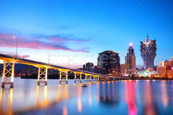 Stadtbild Brücke Wolkenkratzer asia Stadt Sonnenuntergang Stock foto © cozyta