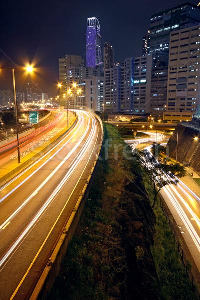 urban downtown night, hong kong Stock photo © cozyta