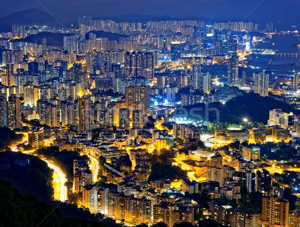 Hong Kong moderno città Night City business costruzione Foto d'archivio © cozyta