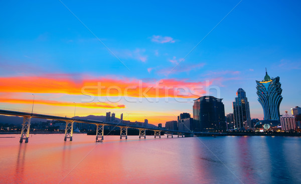 Macao cityscape with famous landmark of casino skyscraper and br Stock photo © cozyta