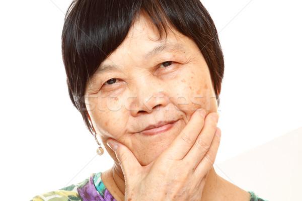 Stok fotoğraf: Kıdemli · Asya · el · kadın · çalışmak · saç