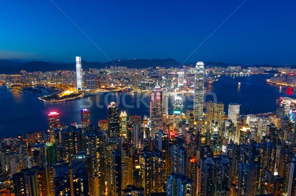 Hong Kong nocturna de la ciudad oficina edificio ciudad luz Foto stock © cozyta