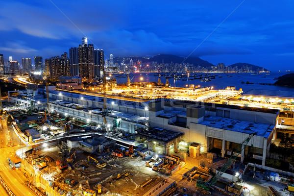 Hong Kong noite da cidade trabalhar pôr do sol tecnologia Foto stock © cozyta