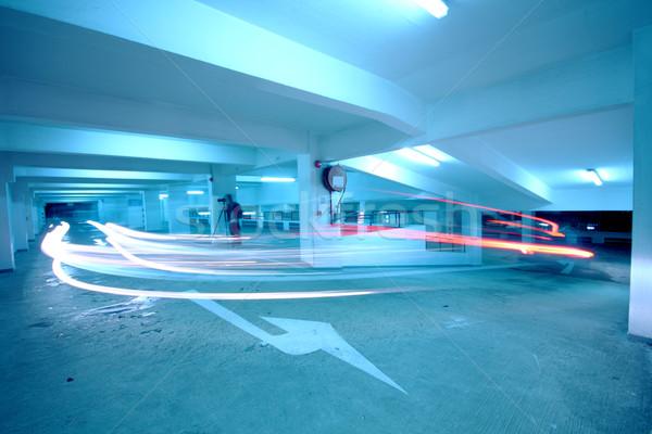 Trafic parking bleu voiture bâtiment construction Photo stock © cozyta