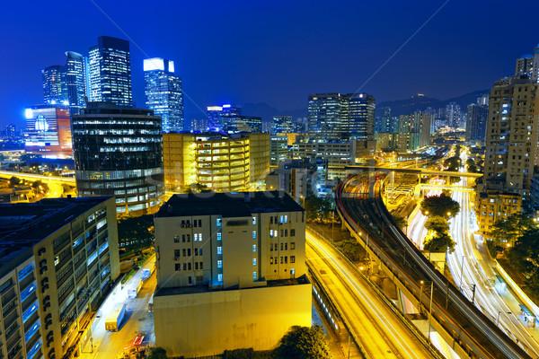 Foto stock: Ocupado · tráfico · noche · financiar · urbanas · negocios