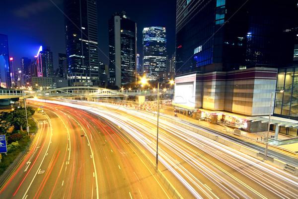 Kolorowy Night City światła samochody ruchu zamazany Zdjęcia stock © cozyta
