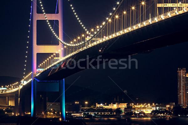 Most Hongkong noc budynku miasta streszczenie Zdjęcia stock © cozyta