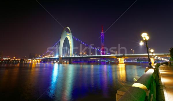 Folyó modern épület pénzügyi negyed éjszaka épület tájkép Stock fotó © cozyta