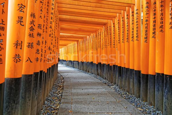 Kyoto Japonya tapınak ahşap turuncu Stok fotoğraf © cozyta