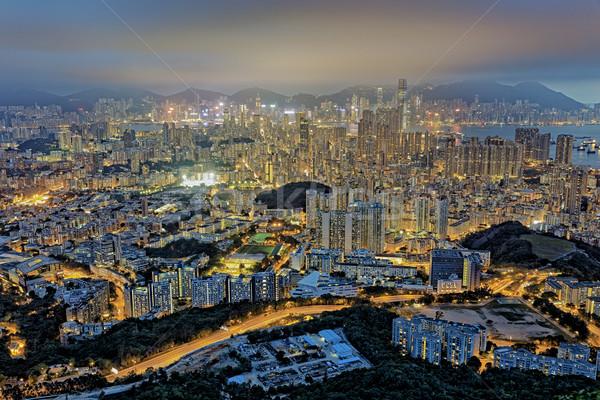 Hong Kong nacht stadsgezicht hemel zon zonsondergang Stockfoto © cozyta
