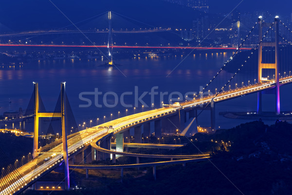 tsing ma bridge at night, Hong Kong Landmark Stock photo © cozyta