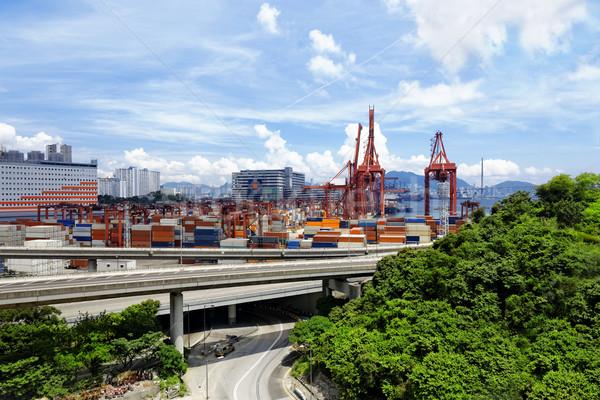 Kikötő raktár ipari üzlet híd hajó Stock fotó © cozyta