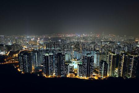 Noite da cidade ver montanha céu escritório edifício Foto stock © cozyta