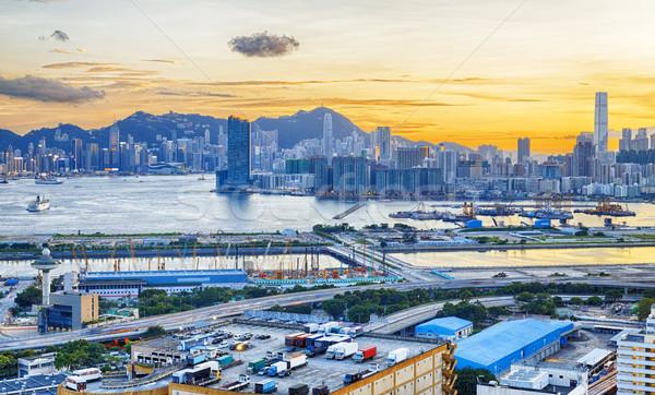 ストックフォト: 香港 · 市 · 日没 · 道路 · 光 · 通り