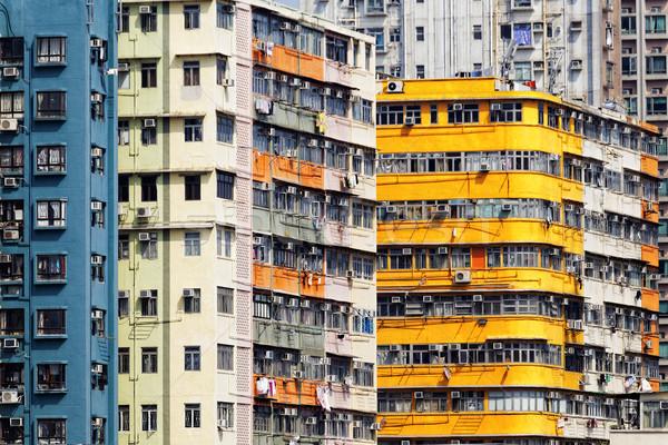 Starych budynków apartamentu Hongkong budynku ściany Zdjęcia stock © cozyta