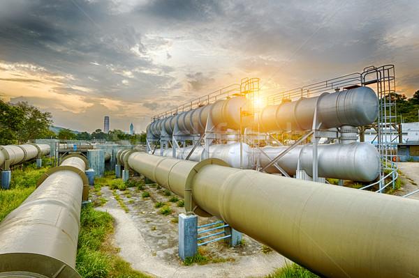Yağ gaz sanayi rafineri fabrika gün batımı Stok fotoğraf © cozyta