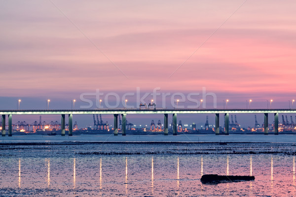 sunset in hongkong and highway bridge and container pier Stock photo © cozyta